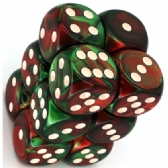 Green & Red Gemini 16mm D6 Dice Block